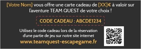 Code cadeau original pour Escape Game